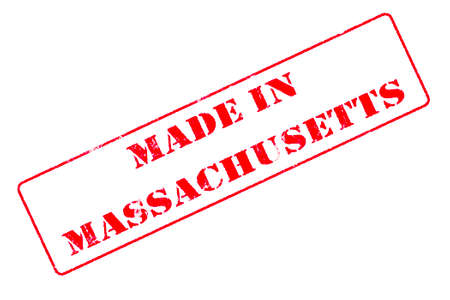 Rubber stamp concept showing a red stamp reading Made in Massachusetts 写真素材