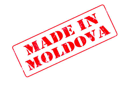 Rubber stamp with red ink on white background concept reading Made In Moldova
