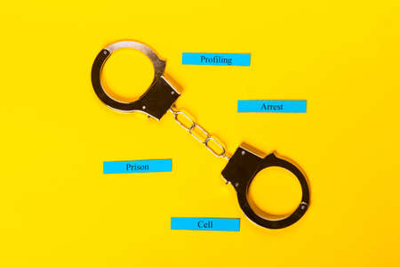 Crime concept showing handcuffs on a yellow background with