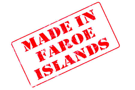 Rubber stamp with red ink on white background concept reading Made In Faroe Islands Imagens