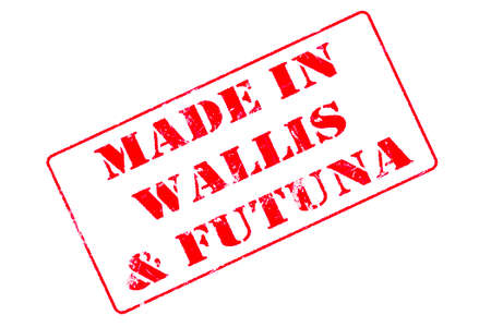 Rubber stamp with red ink on white background concept reading Made In Wallis & Futuna