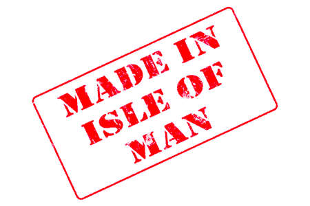 Rubber stamp with red ink on white background concept reading Made In Isle of Man Imagens