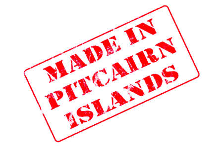 Rubber stamp with red ink on white background concept reading Made In Pitcairn Islands Stock fotó