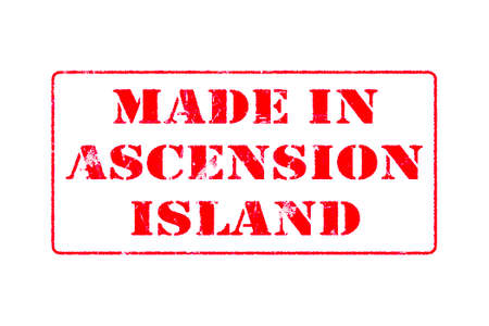 Rubber stamp with red ink on white background concept reading Made In Ascension Island Imagens