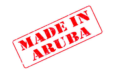 Rubber stamp with red ink on white background concept reading Made In Aruba