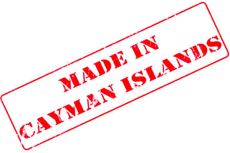 Rubber stamp with red ink on white background concept reading Made In Cayman Islands