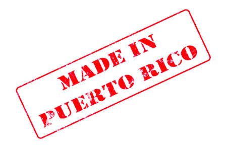 Rubber stamp with red ink on white background concept reading Made In Puerto Rico