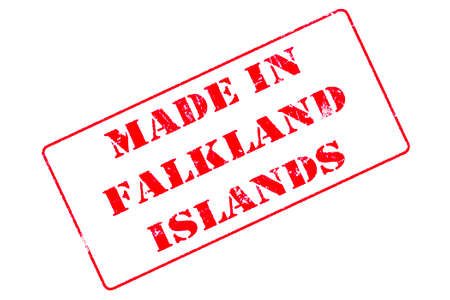 Rubber stamp with red ink on white background concept reading Made In Falkland Islands