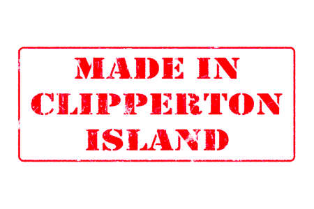 Rubber stamp with red ink on white background concept reading Made In Clipperton Island Imagens