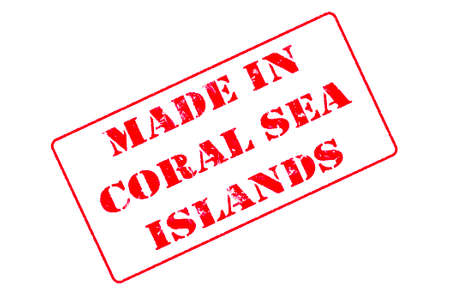 Rubber stamp with red ink on white background concept reading Made In Coral Sea Islands