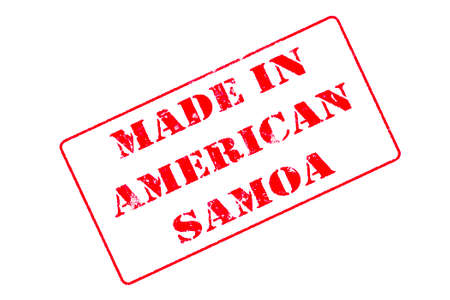 Rubber stamp with red ink on white background concept reading Made In American Samoa