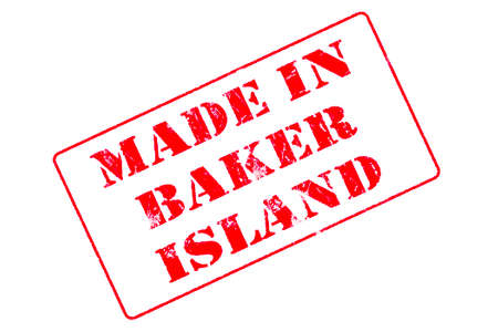 Rubber stamp with red ink on white background concept reading Made In Baker Island Imagens