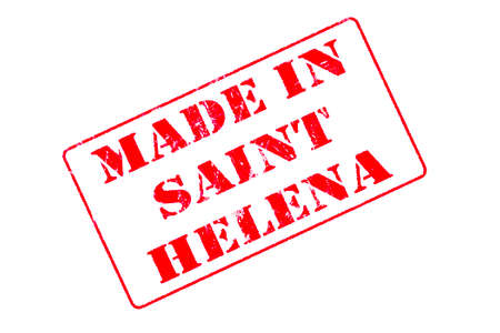 Rubber stamp with red ink on white background concept reading Made In Saint Helena