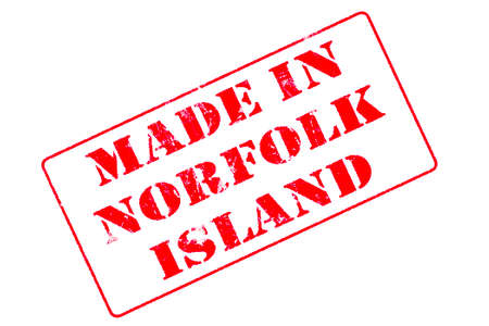 Rubber stamp with red ink on white background concept reading Made In Norfolk Island