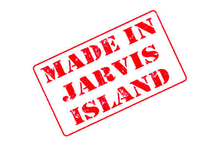 Rubber stamp with red ink on white background concept reading Made In Jarvis Island
