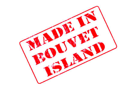Rubber stamp with red ink on white background concept reading Made In Bouvet Island Imagens