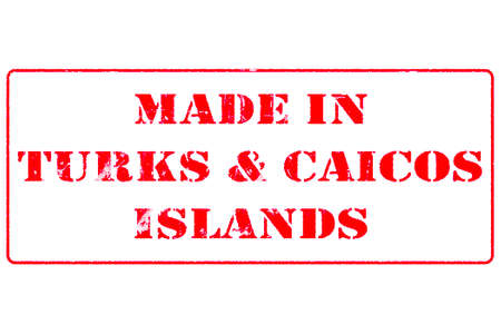 Rubber stamp with red ink on white background concept reading Made In Turks & Caicos Islands Stock fotó