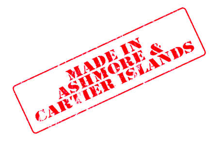 Rubber stamp with red ink on white background concept reading Made In Ashmore & Cartier Islands