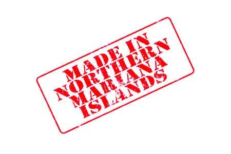 Rubber stamp with red ink on white background concept reading Made In Northern Mariana Islands Imagens
