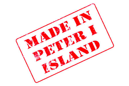 Rubber stamp with red ink on white background concept reading Made In Peter I Island