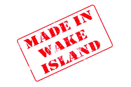Rubber stamp with red ink on white background concept reading Made In Wake Island