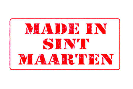 Rubber stamp with red ink on white background concept reading Made In Saint Maarten