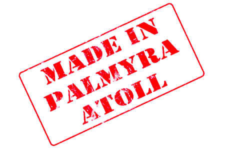 Rubber stamp with red ink on white background concept reading Made In Palmyra Atoll
