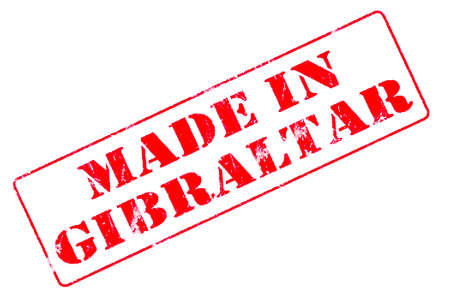 Rubber stamp with red ink on white background concept reading Made In Gibraltar Imagens