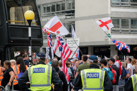 London, United Kingdom, August 3rd 2019:- Supporters of former EDL leader Tommy Robinson rally in Central London