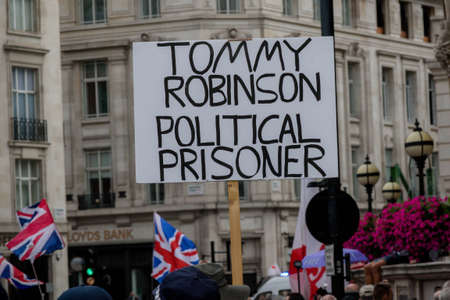 London, United Kingdom, August 3rd 2019:- A sign supporting Tommy Robinson as a political prisoner