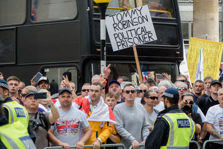 London, United Kingdom, August 3rd 2019:- Supporters of former EDL leader Tommy Robinson rally in Central London Banco de Imagens - 131958672