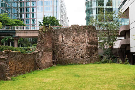 London, United Kingdom, August 3rd 2019:- Ruins of the old Roman Walls built to protect Londinium