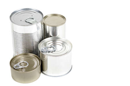 Metal food tins isolated on a white background Stock Photo