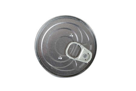 A top down view of a metal food tin isolated on a white background