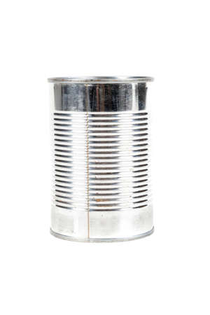 A metal food tin isolated on a white background