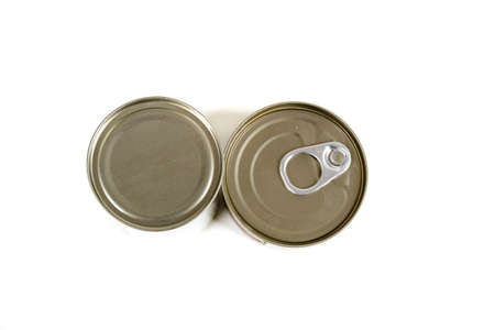 A top down view of metal food tins isolated on a white background Banco de Imagens