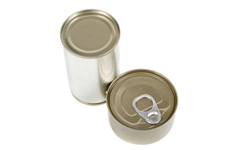 Metal food tins isolated on a white background Banco de Imagens
