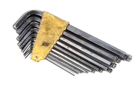 A set allen keys isolated on a white background Banco de Imagens