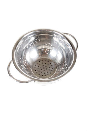 A metal colander isolated on a white background