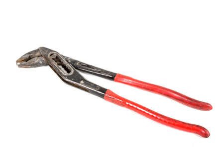 A pair of gas pliers isolated on a white background Banco de Imagens