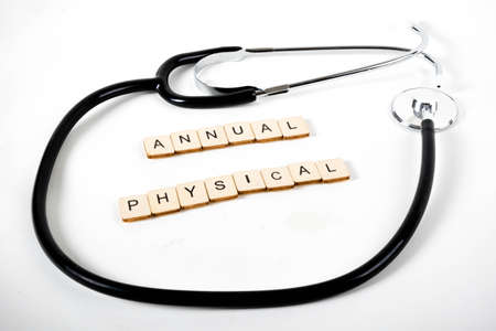 Medical or Healthcare concept with a stethoscope and the message Annual Physical