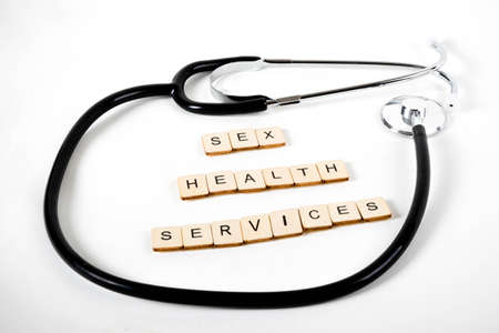 Medical or Healthcare concept with a stethoscope and the message Sex Health Services