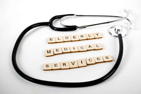 Medical or Healthcare concept with a stethoscope and the message Elderly medical Services