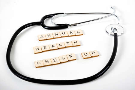 Medical or Healthcare concept with a stethoscope and the message Annual Health Check Up
