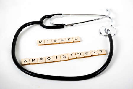 Medical or Healthcare concept with a stethoscope and the message Missed Appointment