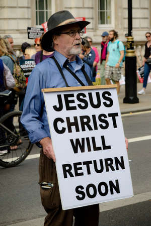 London, United Kingdom, August 31st 2019:- A Christian protester addresses the crowd at the protest against Prime Minister Boris Johnson's plan to suspend Parliament for five weeks. Editorial