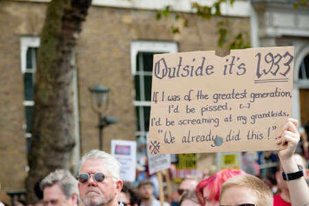 London, United Kingdom, August 31st 2019:- Protesters in Whitehall, Central London protesting Prime Minister Boris Johnson's plan to suspend Parliament for five weeks Editorial