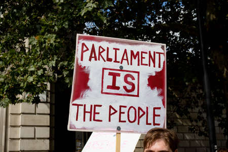 London, United Kingdom, August 31st 2019:- Protesters in Whitehall, Central London protesting Prime Minister Boris Johnsons plan to suspend Parliament for five weeks Redakční