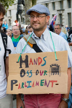 London, United Kingdom, August 31st 2019:- Protesters in Whitehall, Central London protesting Prime Minister Boris Johnson's plan to suspend Parliament for five weeks Reklamní fotografie - 132333763