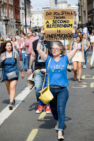 London, United Kingdom, August 31st 2019:- Protesters in Whitehall, London protesting Prime Minister Boris Johnson's plan to suspend Parliament for five weeks wanting another referendum on the EU